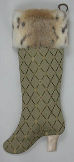 Green Lattice Boot Christmas Stocking